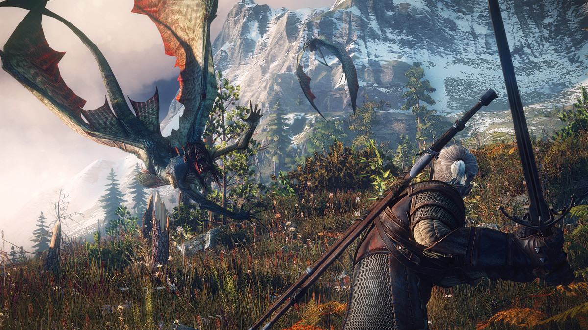 The Witcher 3: Wild Hunt - Geralt fighting flying beasts