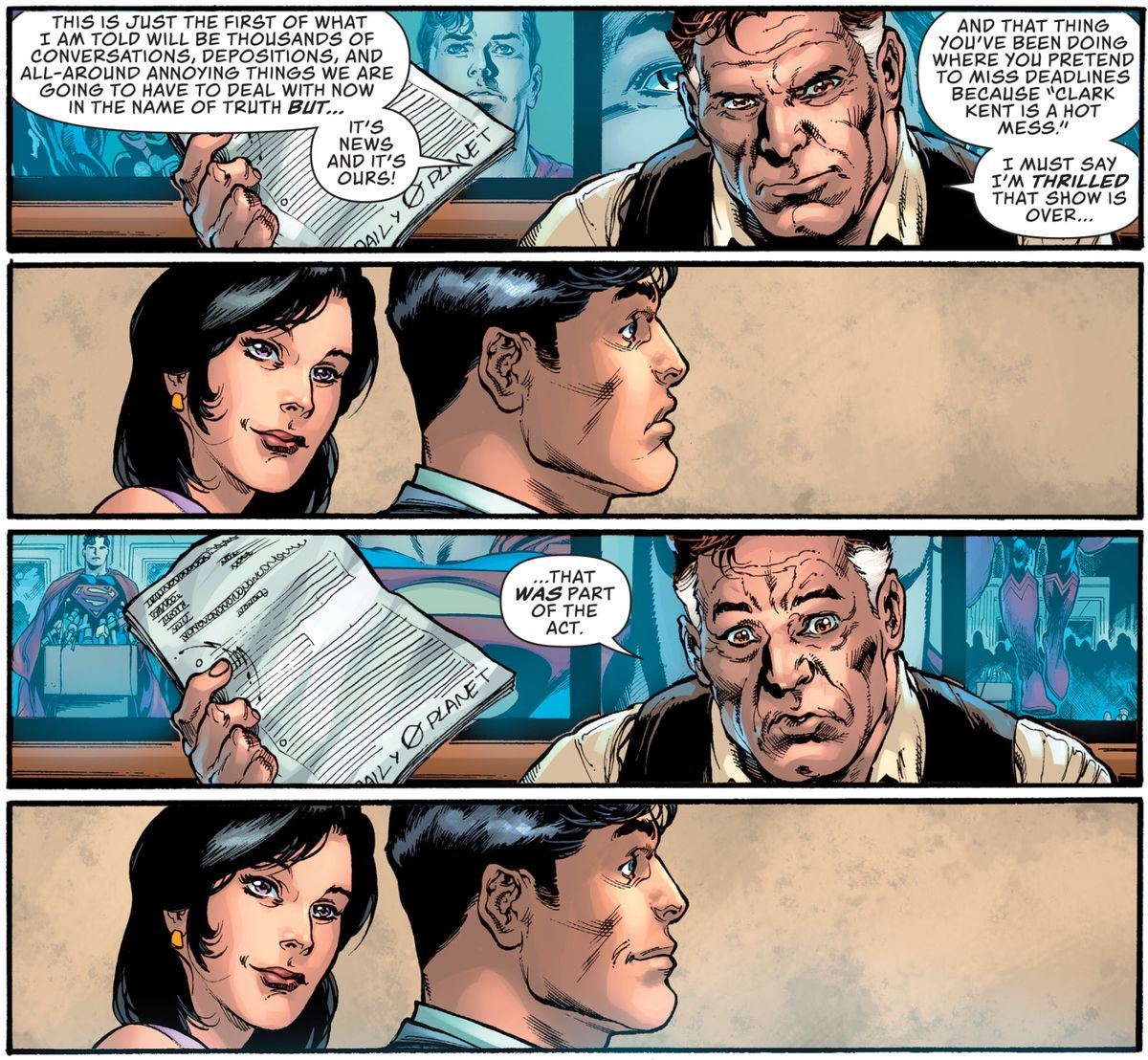 "Perry White tells Clark Kent that he's thrilled to know that all those deadlines he's missed were an act. After a pause he says, ""That WAS part of the act?"" in Action Comics #19, DC Comics (2020)."