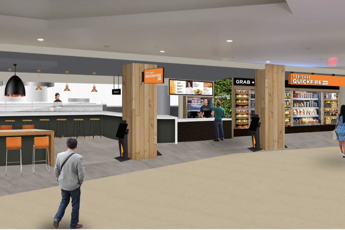 rendering of a restaurant in a food court