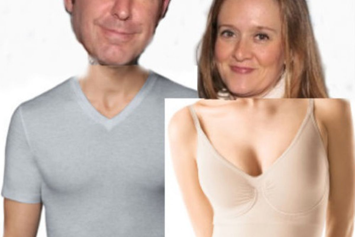 Spanx Pride with Samantha Bee and Jason Jones. Images via Getty and Spanx