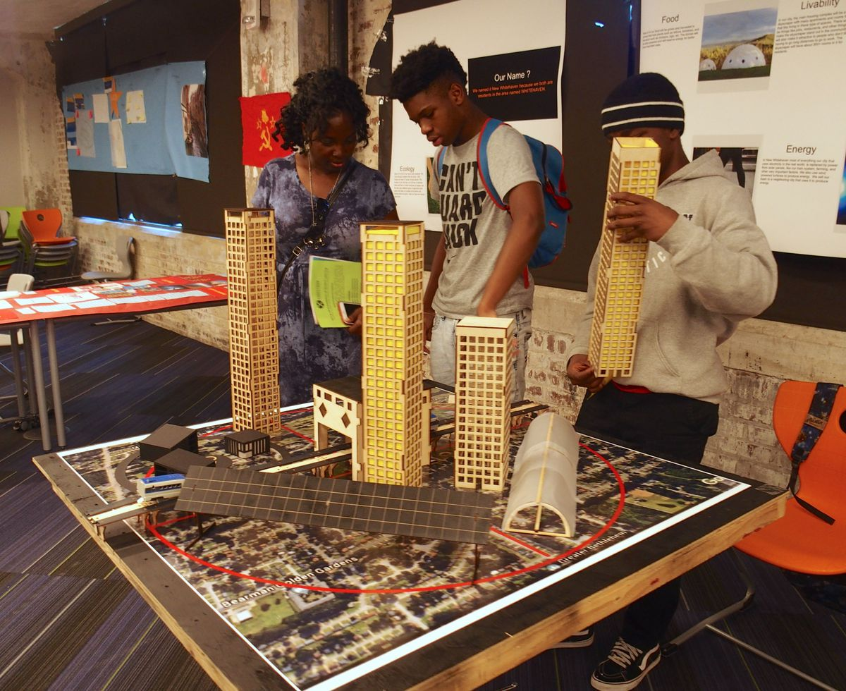 Students at Crosstown High School, a first-year, project-based learning charter school, hosted an exhibit of their final projects May 16.