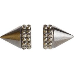 """Givenchy pale gold and crystal small double cone """"Shark"""" earring, <a href=""""http://www.barneys.com/on/demandware.store/Sites-BNY-Site/default/Product-Show?pid=00505030507487&cgid=women&index=1"""">$119</a> (was $290) at Barneys"""
