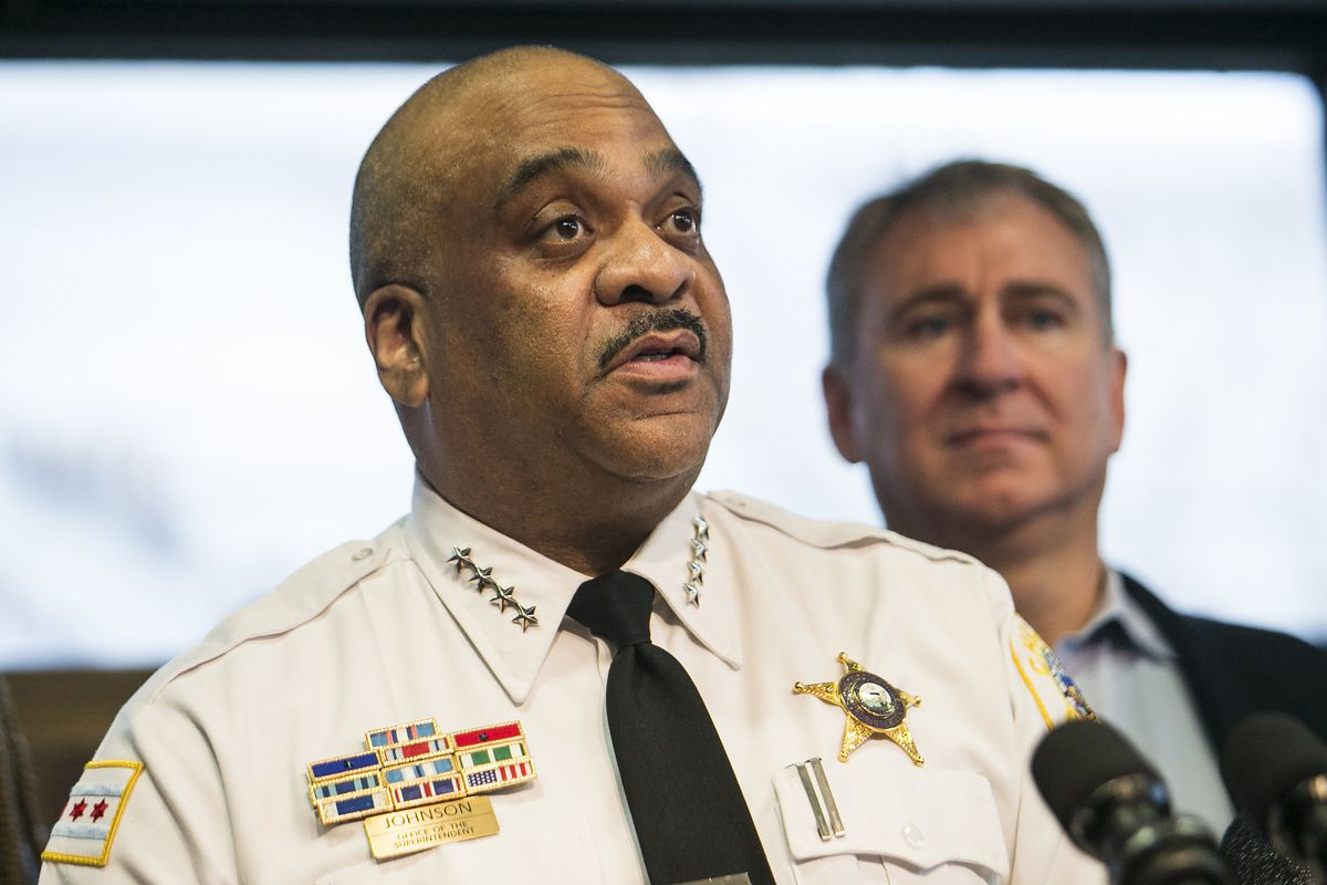 Chicago Police Supt. Eddie Johnson speaks about a $10 million donation from Chicago billionaire Ken Griffin to reduce gun violence in the city, during a press conference at the Chicago Police Department's 25th District station, Wednesday morning, April 12