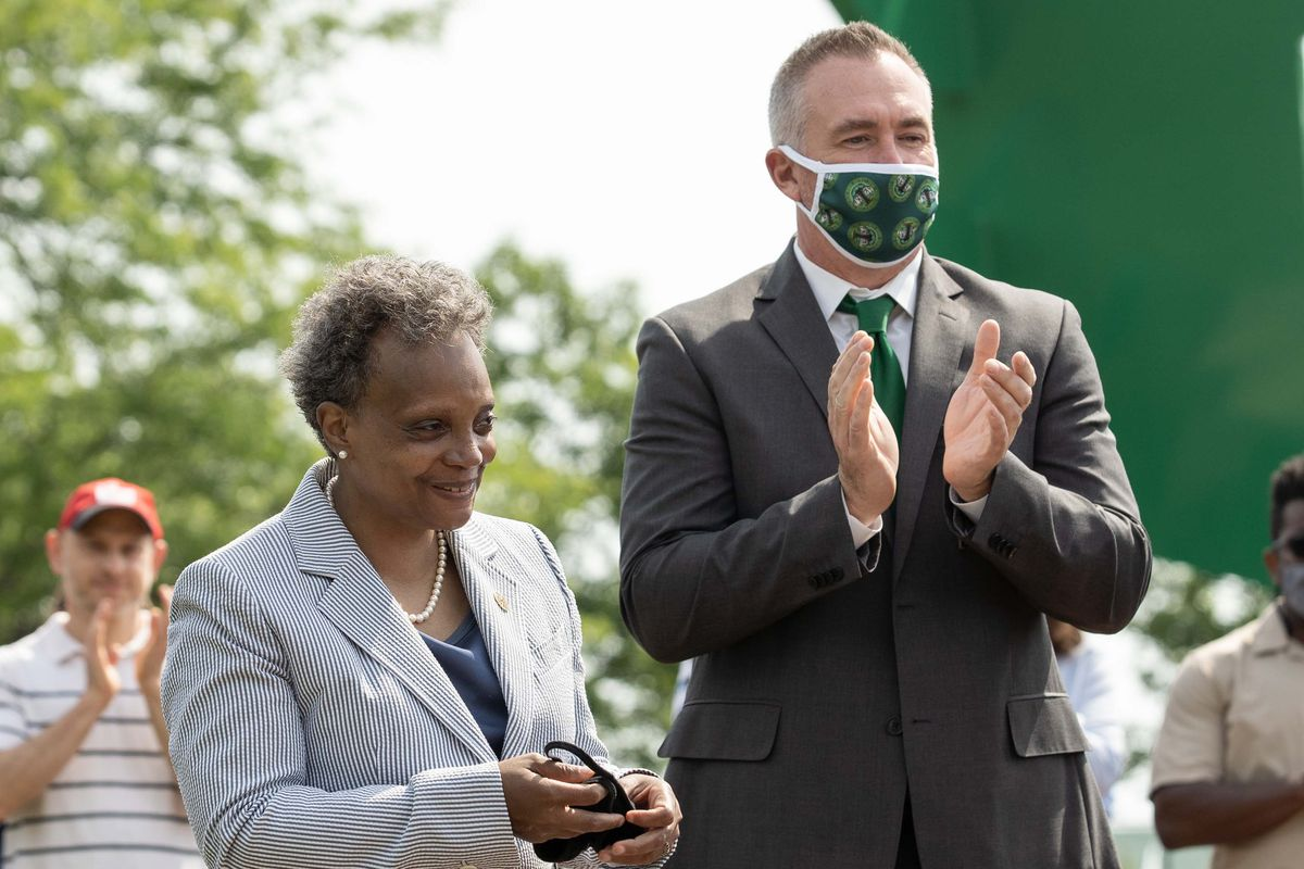 Chicago Park District Supt. Mike Kelly, shown in June with Mayor Lori Lightfoot, says he gave his top managers first crack at investigating a female lifeguard's complaints about physical abuse, sexual harassment and drug and alcohol use by lifeguards at Oak Street Beach.