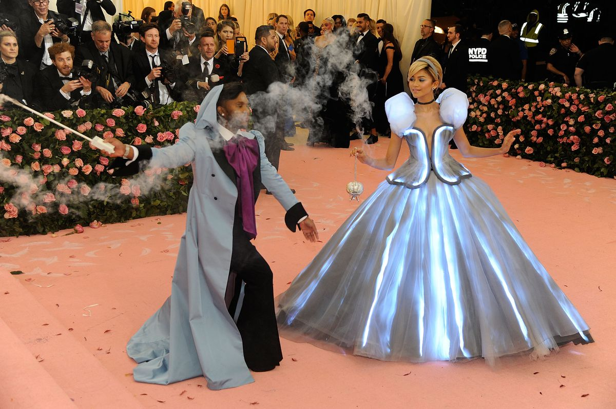 Zendaya as Cinderella and her stylist, Law Roach, as her fairy godmother at the 2019 Met Gala.