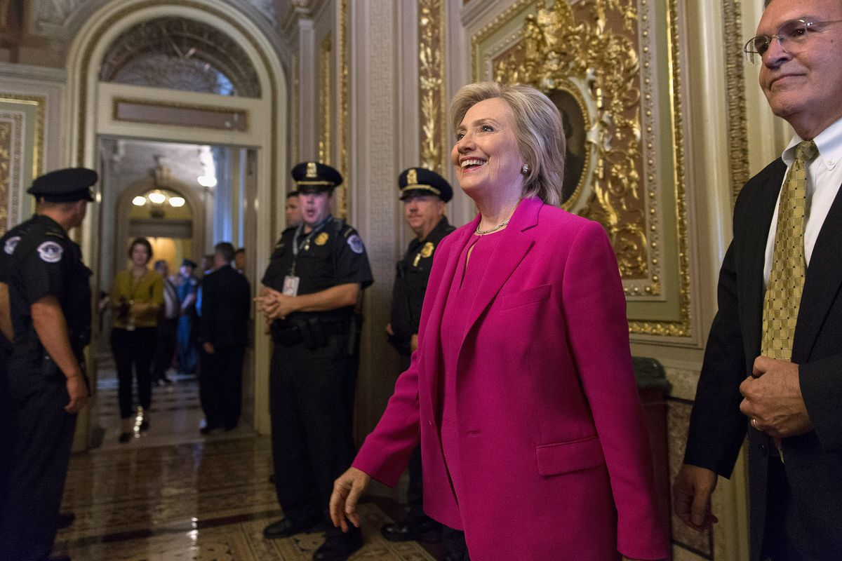 Democratic presidential candidate and former Secretary of State Hillary Clinton arrives for a meeting with Senate Democrats at the US Capitol July 14, 2015, in Washington, DC.