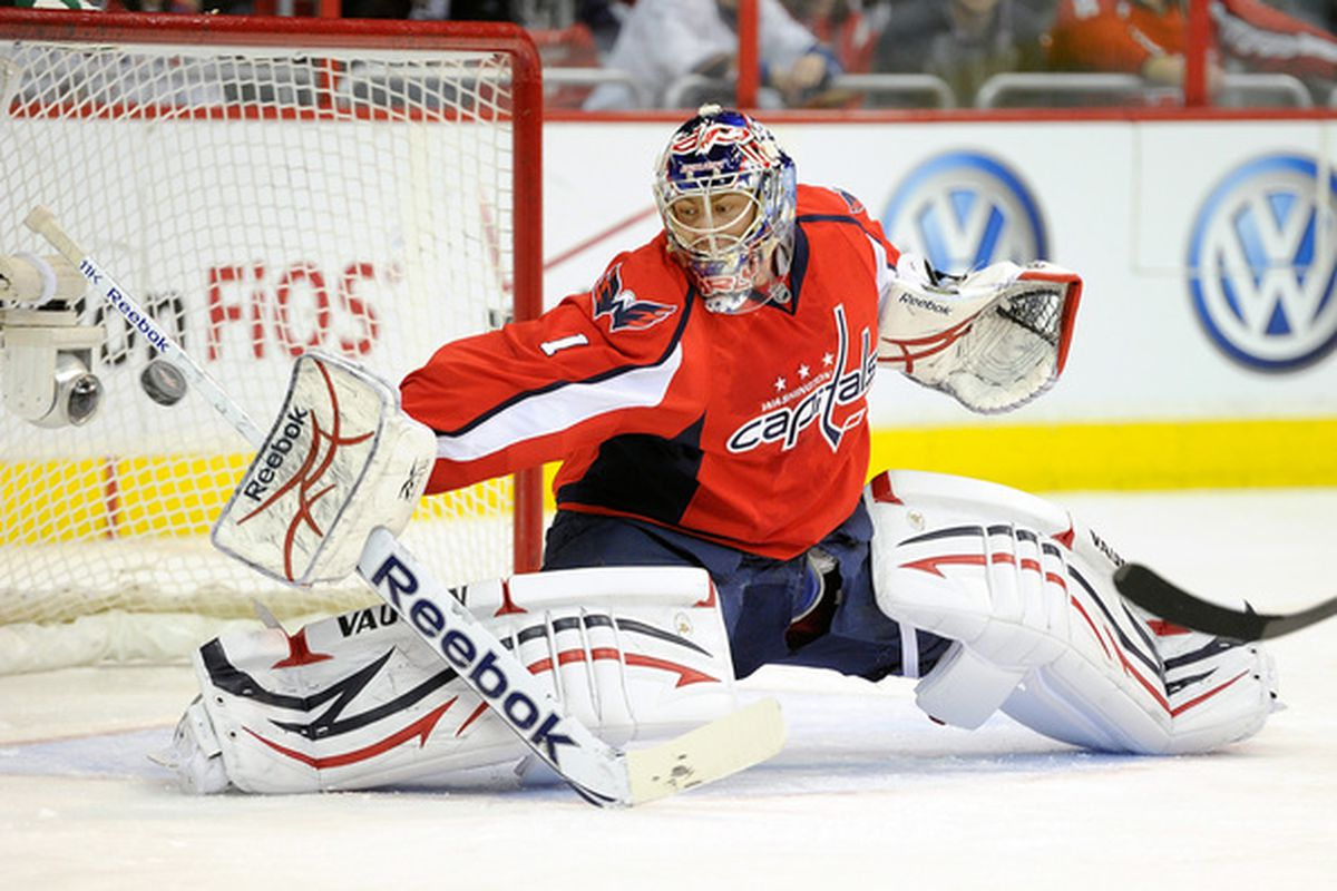 WASHINGTON - JANUARY 14:  Semyon Varlamov #1 of the Washington Capitals makes a save against the Vancouver Canucks at the Verizon Center on January 14 2011 in Washington DC.  (Photo by Greg Fiume/Getty Images)