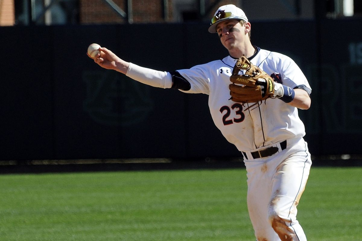 Auburn second baseman Jordan Ebert extended his hitting streak to 11 games with a solo home run in the seventh inning against Brown.