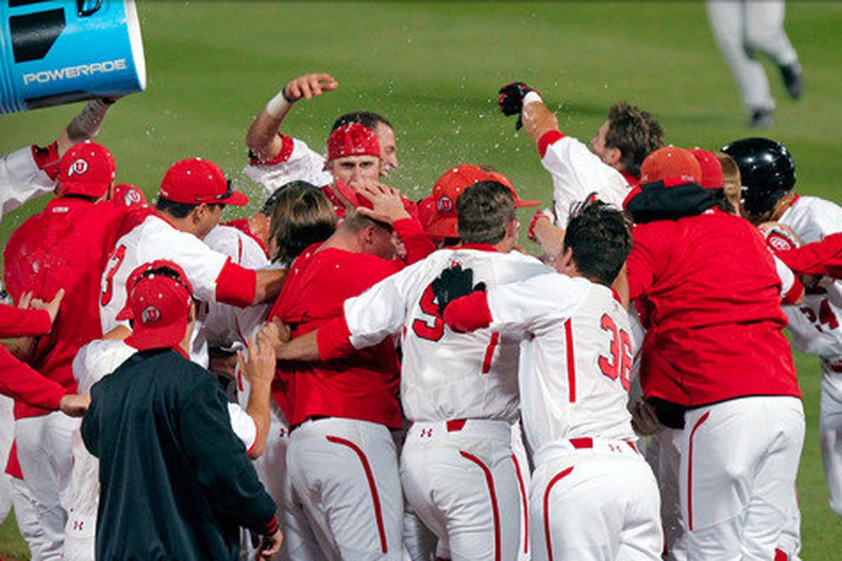 The Utah baseball team celebrates their 2-1 series victory over Arizona to open Pac-12 play.