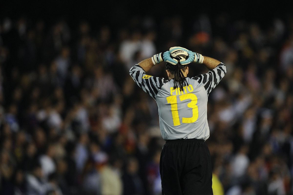 VALENCIA, SPAIN - APRIL 20: Pinto of Barcelona reacts during the Copa del Rey Final between Real Madrid and Barcelona at Estadio Mestalla on April 20, 2011 in Valencia, Spain. Real Madrid won 1-0.  (Photo by David Ramos/Getty Images)