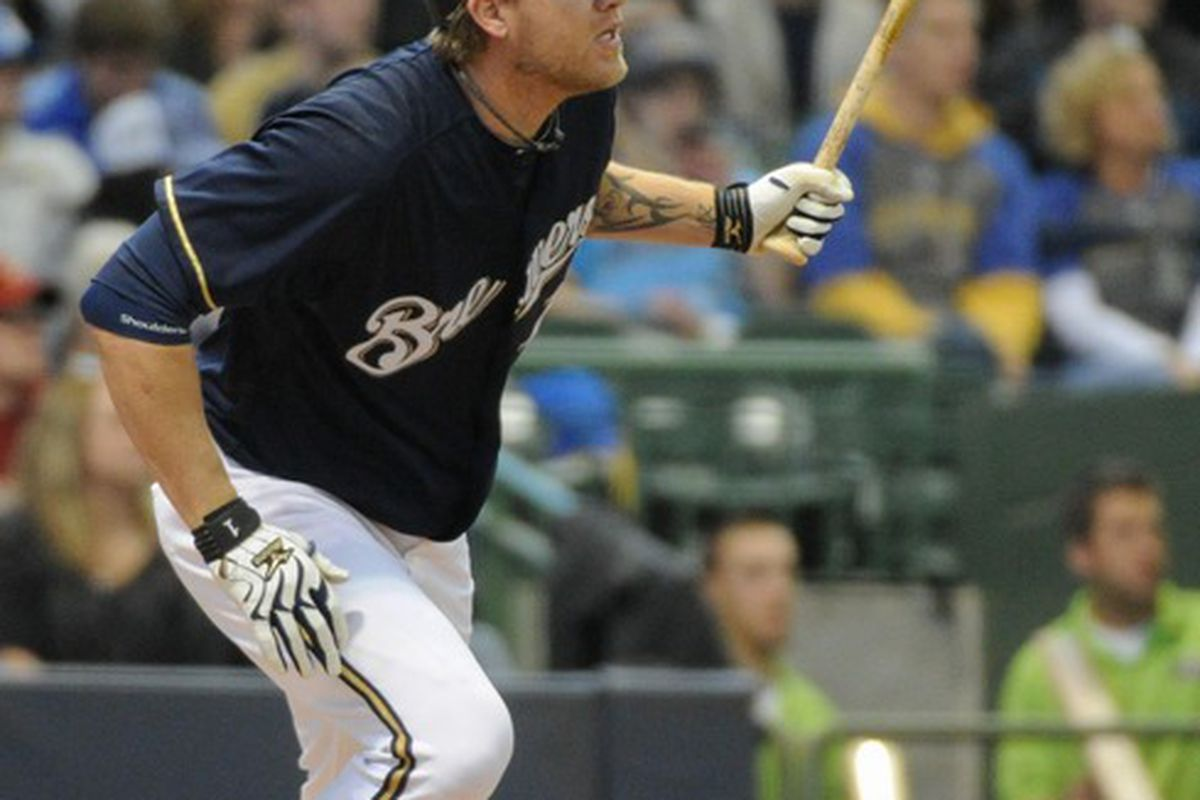 Apr 25, 2012; Milwaukee, WI, USA;  Milwaukee Brewers right fielder Corey Hart (1) during the game against the Houston Astros  at Miller Park.  Mandatory Credit: Benny Sieu-US PRESSWIRE