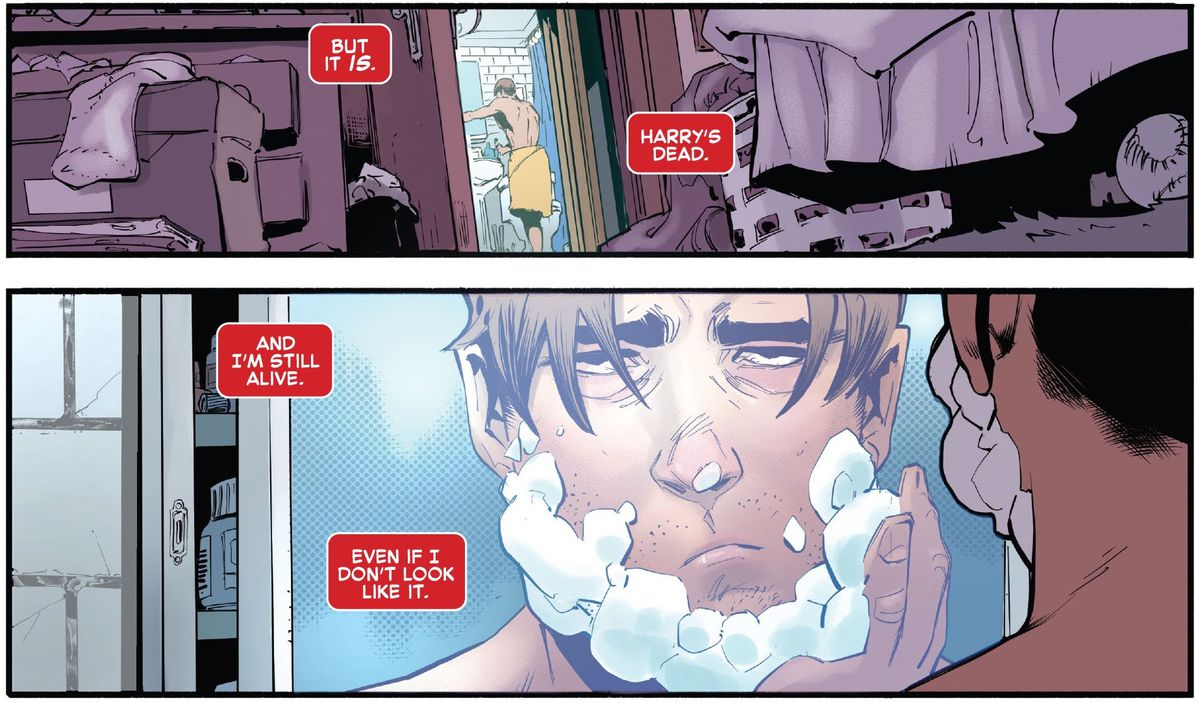 """A depressed Peter Parker lathers up to shave as he thinks """"Harry's dead. And I'm still alive. Even if I don't look like it,"""" in The Amazing Spider-Man #75 (2021)."""
