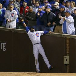 October 30: Jason Heyward makes a great catch in Game 5 of the World Series
