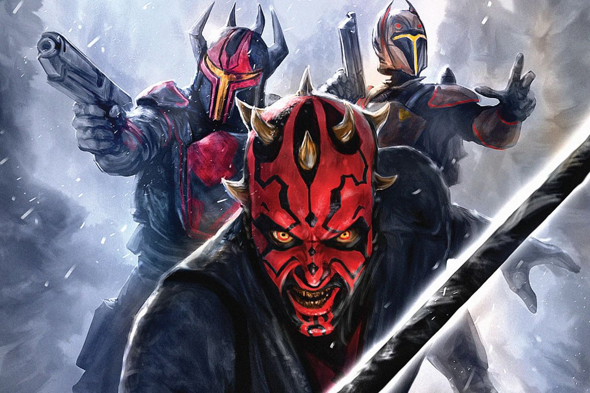darth maul and two mandalorians in maul themed armor