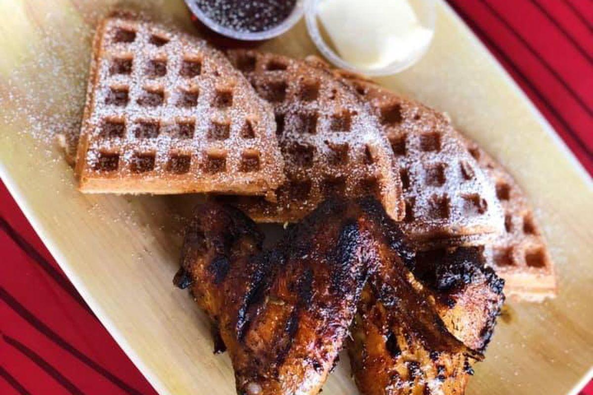 Jerk chicken and waffles at Big Jerk Caribbean