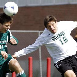 Chris Anjewierden, left, of Olympus and Keaton Critchlow of Hillcrest battle for control of the ball as Olympus High School plays Hillcrest High School in boys soccer in MIdvale, Friday, April 27, 2012.