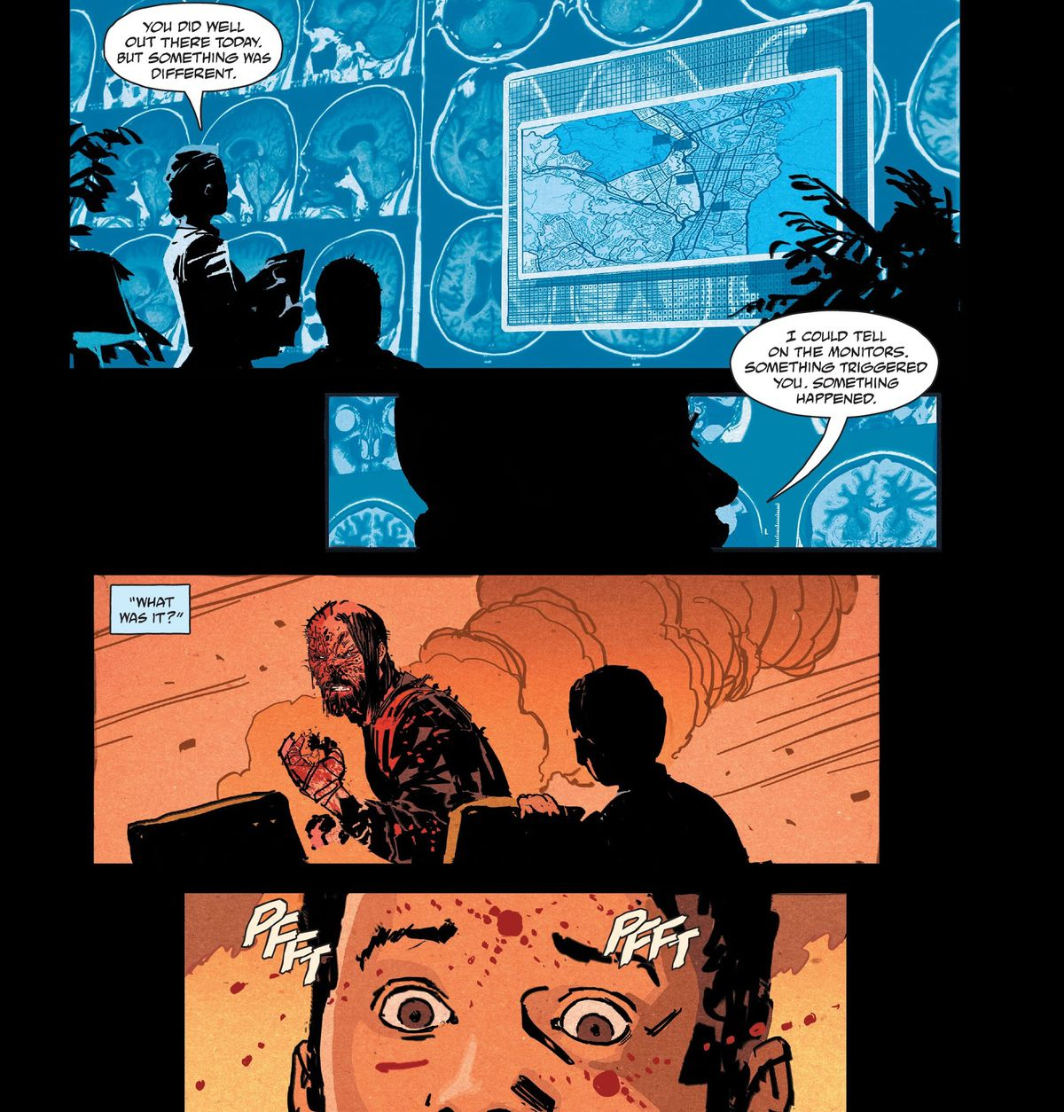 The therapist of the unkillable protagonist of BRZRKR asks him what caused his vital signs to spike in the field that day, as he remembers seeing the murder of a frightened child, in BRZRKR #1, Boom Studios (2021).
