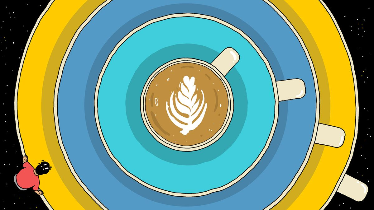 An illustration of a person staring into a flat white