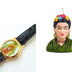 """From <strong>The National Museum of Women in the Arts:</strong> <a href=""""http://shop.nmwa.org/frida-kahlo-watch/"""">Frida Kahlo Watch</a>; <a href=""""http://shop.nmwa.org/frida-candle/"""">Frida Candle</a>"""