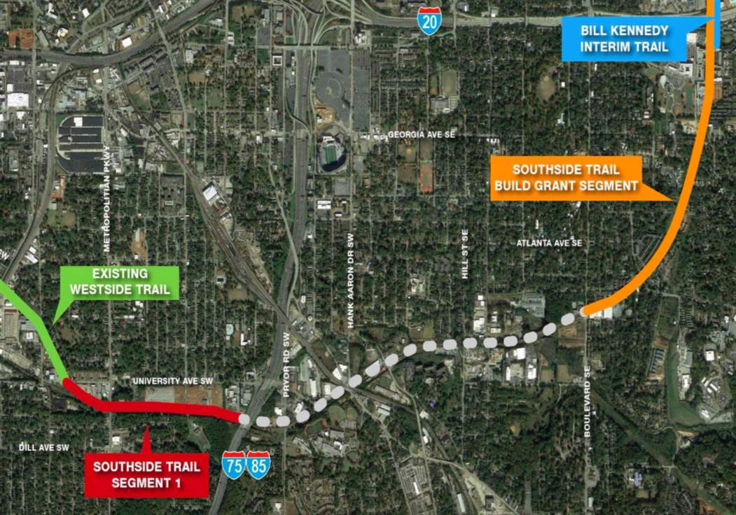 How the Southside Trail's initial segment would branch off the existing Westside Trail, which ends today in Adair Park.