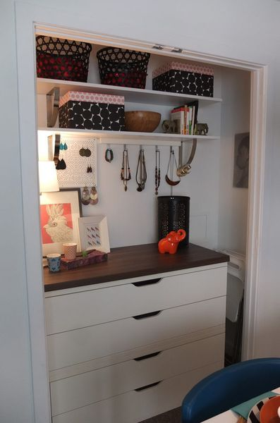 The Ikea Home Tour Squad Turned An Awkward Shallow Closet Into More Usable Storage Space Unit Is A Mashup Of PRAGEL Countertop And STOLMEN