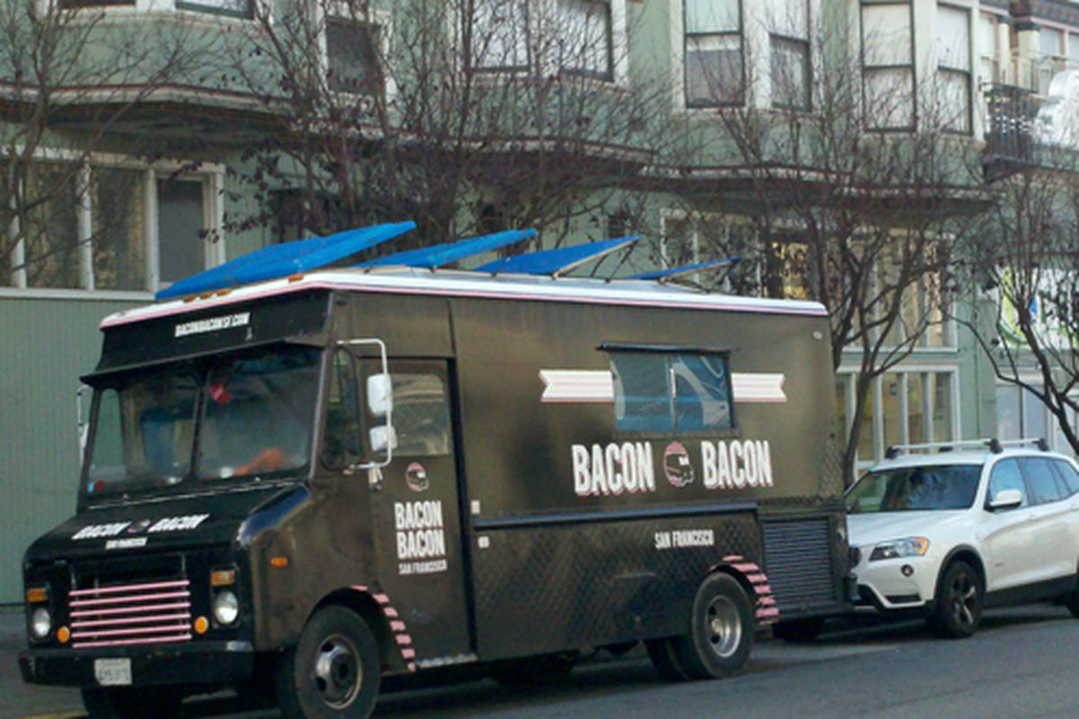 Bacon Bacon parked this morning outside its new brick-and-mortar digs in Cole Valley.