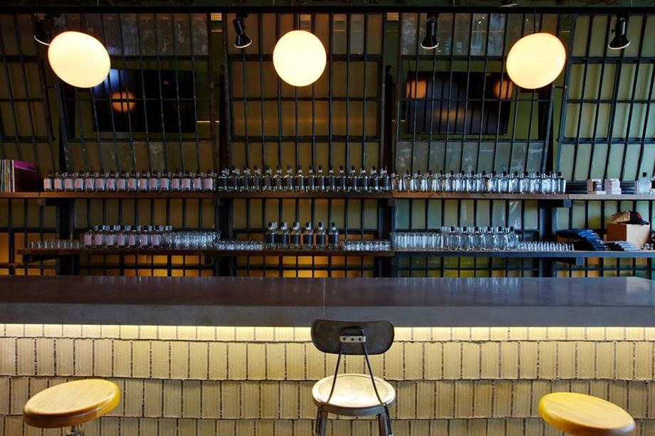 The empty bar at One Eight Distilling