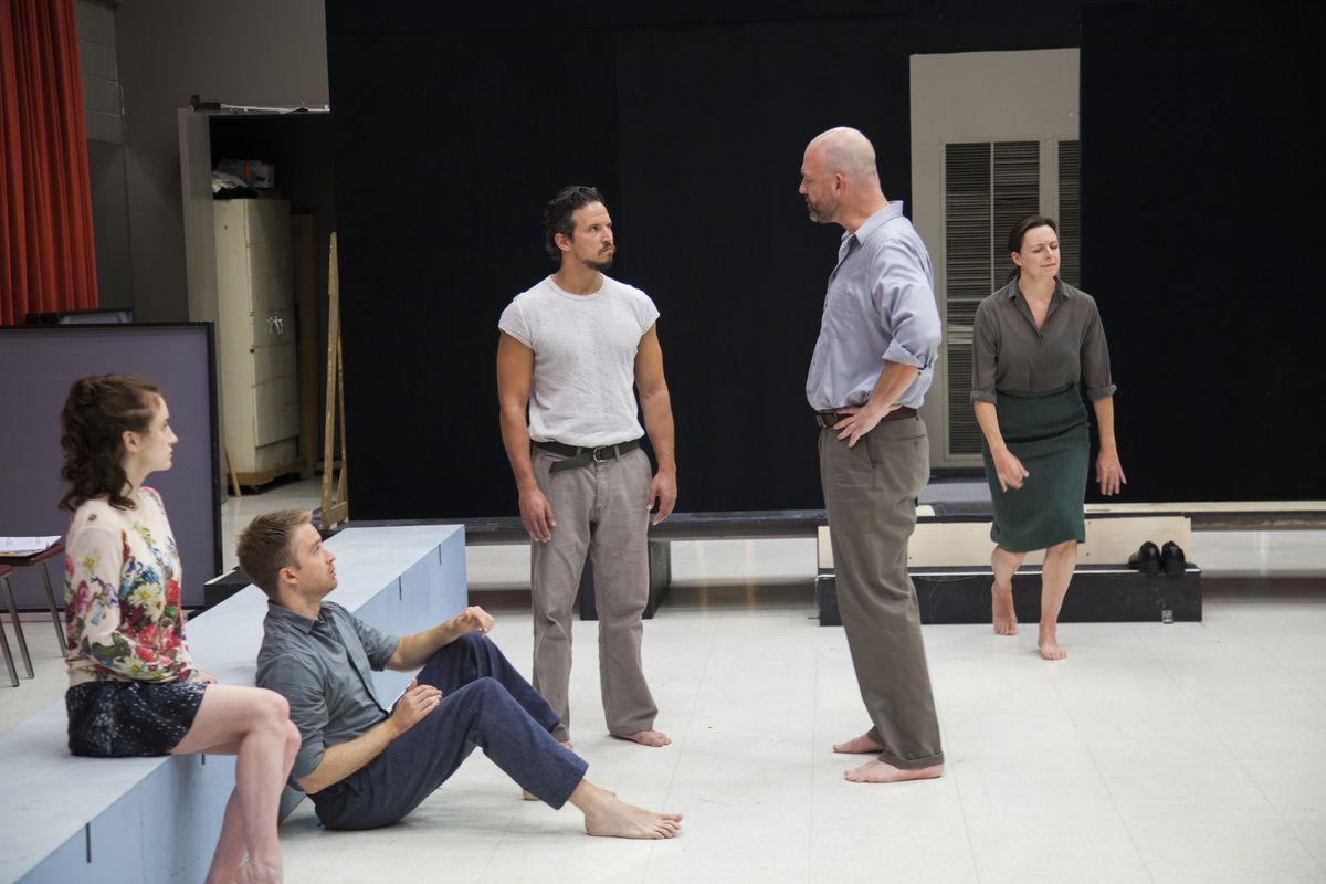 """Director Ivo van Hove (center right) rehearses """"A View from the Bridge"""" at the Goodman Theatre. 