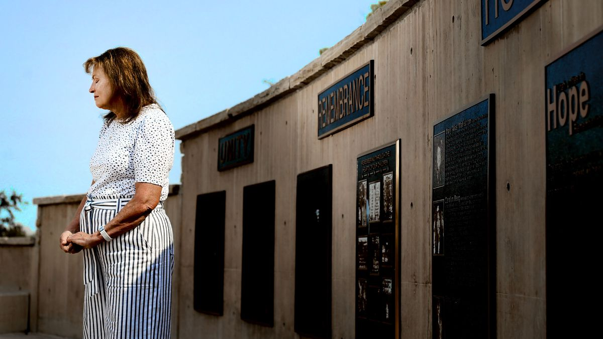 Margaret Wahlstrom stands at the 9/11 memorial at the Utah State University Botanical Center in Kaysville.