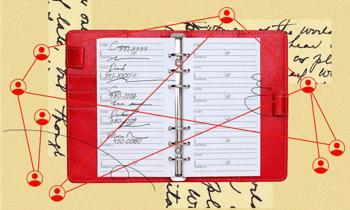 An illustration of an open notebook with handwriting and symbols that represent contact tracing.