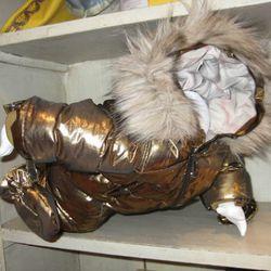 Burberry gold snowsuit, $425