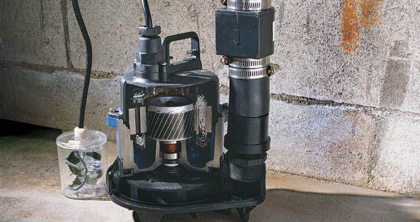 Crawl space sump pump in a basement.