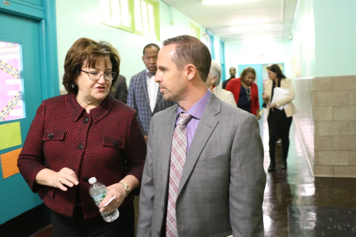 State Education Commissioner MaryEllen Elia at the School of Diplomacy in the Bronx.