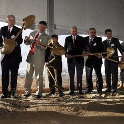 Dignitaries shovel dirt during the groundbreaking for the first Intelligence Community Comprehensive National Cybersecurity Initiative (CNCI) Data Center at Camp Williams, Utah on Thursday, Jan. 6, 2011.