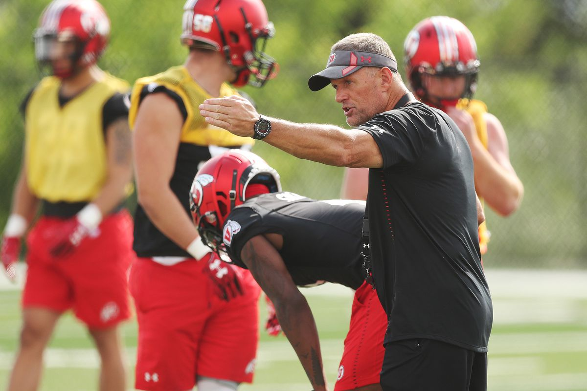 Utah Utes head coach Kyle Whittingham instructs special teams during practice in Salt Lake City on Aug 2, 2018.