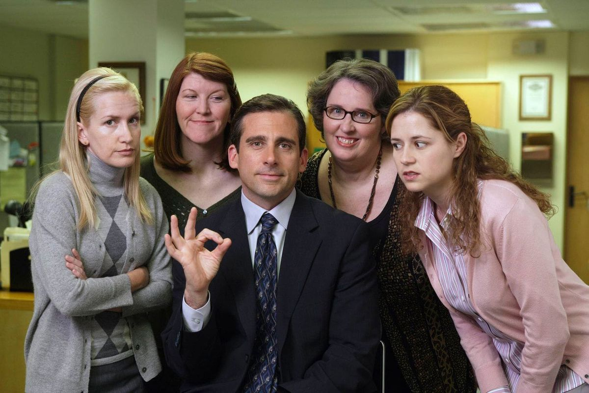 the cast of the office, in an office