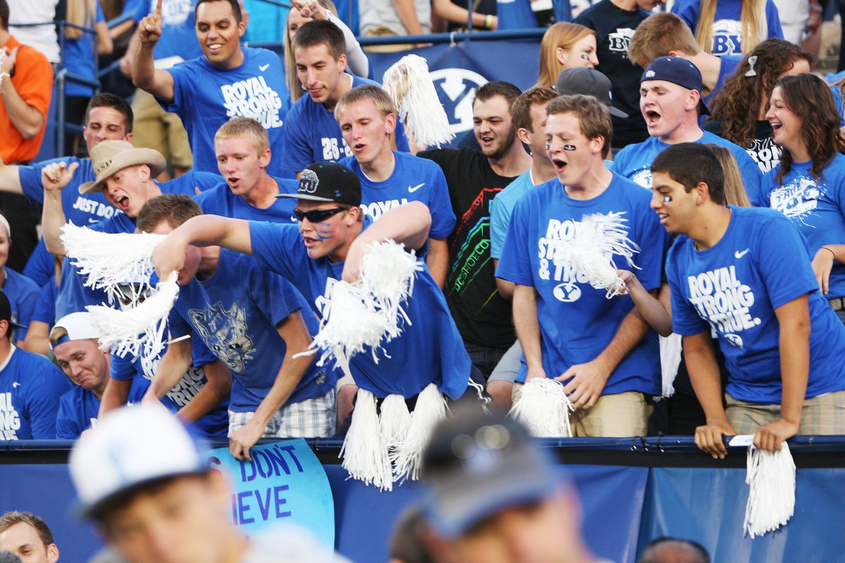Fans cheer prior to the BYU-Utah game during NCAA football in Provo Saturday, Sept. 21, 2013.