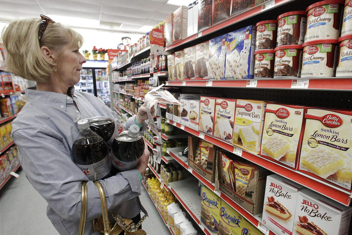 A woman in Texas shops for groceries.