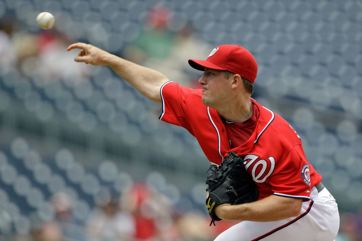WASHINGTON, DC - JULY 10:  Starting pitcher Jordan Zimmermann #27 of the Washington Nationals delivers to a Colorado Rockies batter during the second inning at Nationals Park on July 10, 2011 in Washington, DC.  (Photo by Rob Carr/Getty Images)