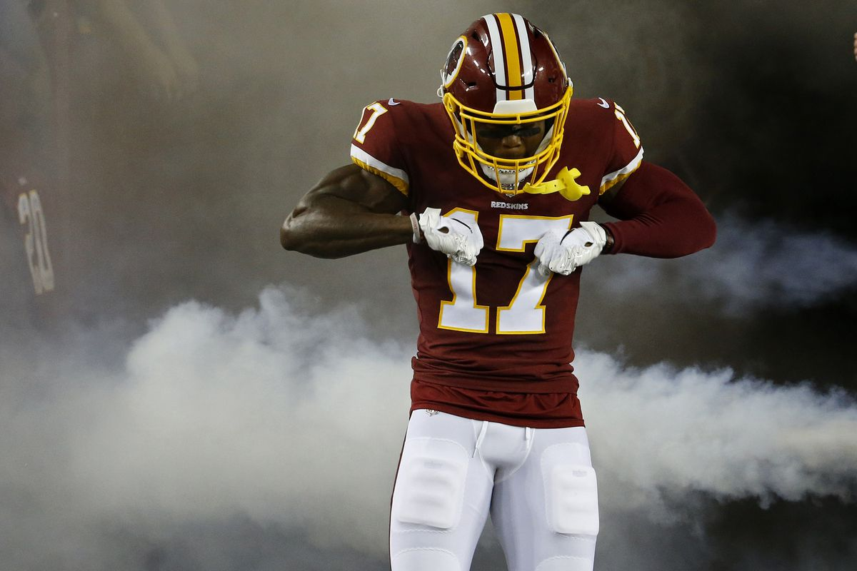 Washington wide receiver Terry McLaurin is introduced prior to the Redskins game against the Chicago Bears at FedExField.