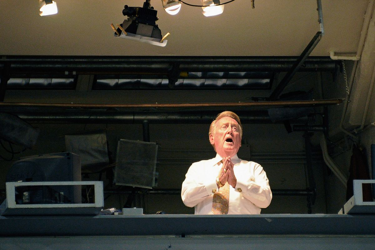 Vin Scully will miss his first home opener in 35 years today.