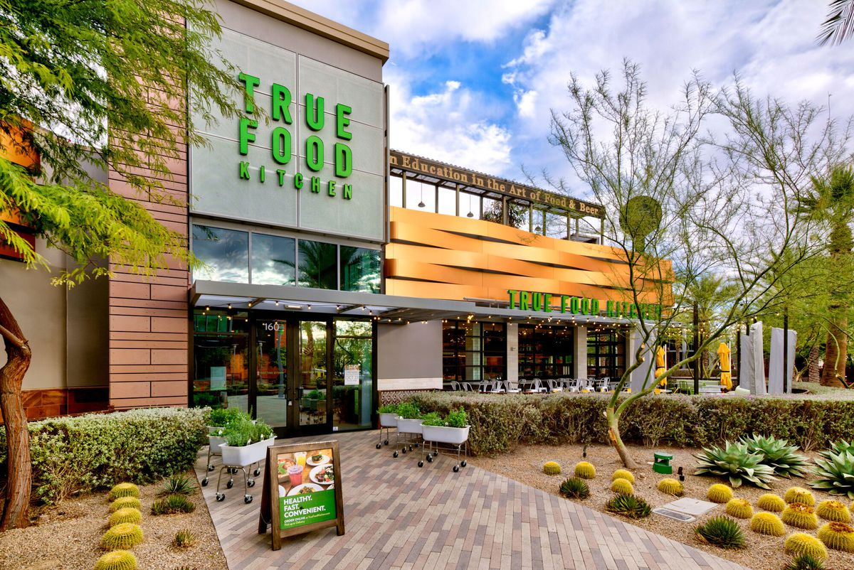 The exterior and entrance to True Food Kitchen at Downtown Summerlin.