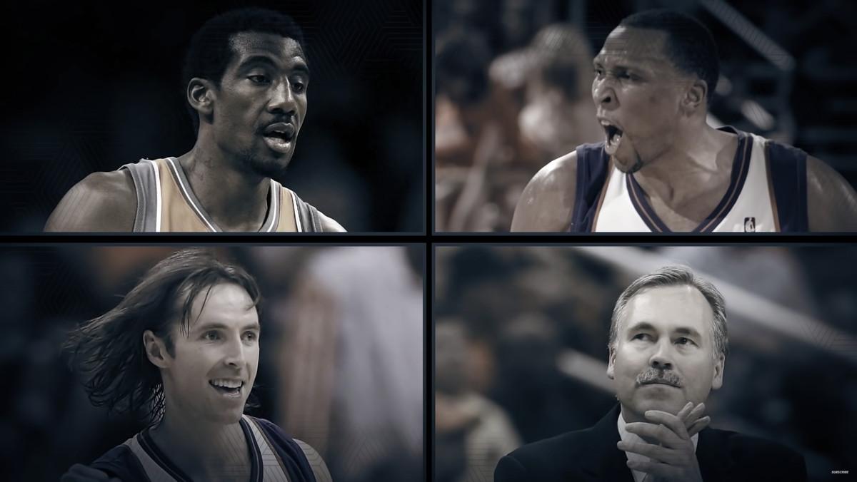 The Phoenix Suns lineup of Amar'e Stoudmire, Shawn Marion, Steve Nash and Mike D'Antoni.