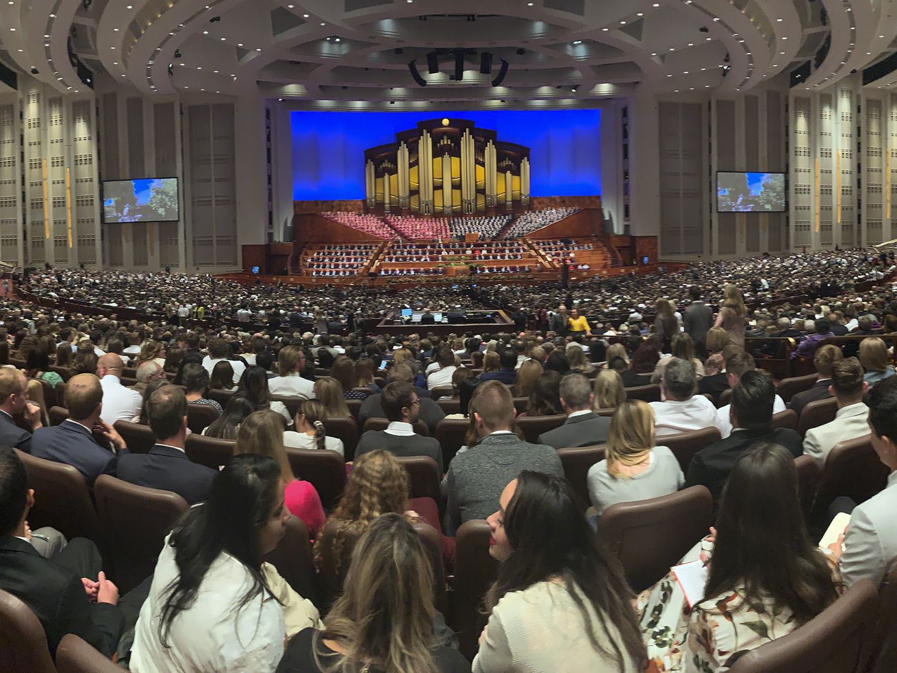 Attendees listen during the 189th Semiannual General Conference of The Church of Jesus Christ of Latter-day Saints in Salt Lake City on Sunday, Oct. 6, 2019.
