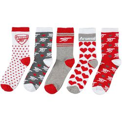 """<a class=""""ql-link"""" href=""""https://arsenaldirect.arsenal.com/Womens/Arsenal-Womens-5-Pack-of-Socks/p/N03901"""" target=""""_blank"""">Arsenal Women's Socks</a>. Everyone needs more fun socks. Fun socks are the best. For the Gooner working from home. From Arsenal.com."""