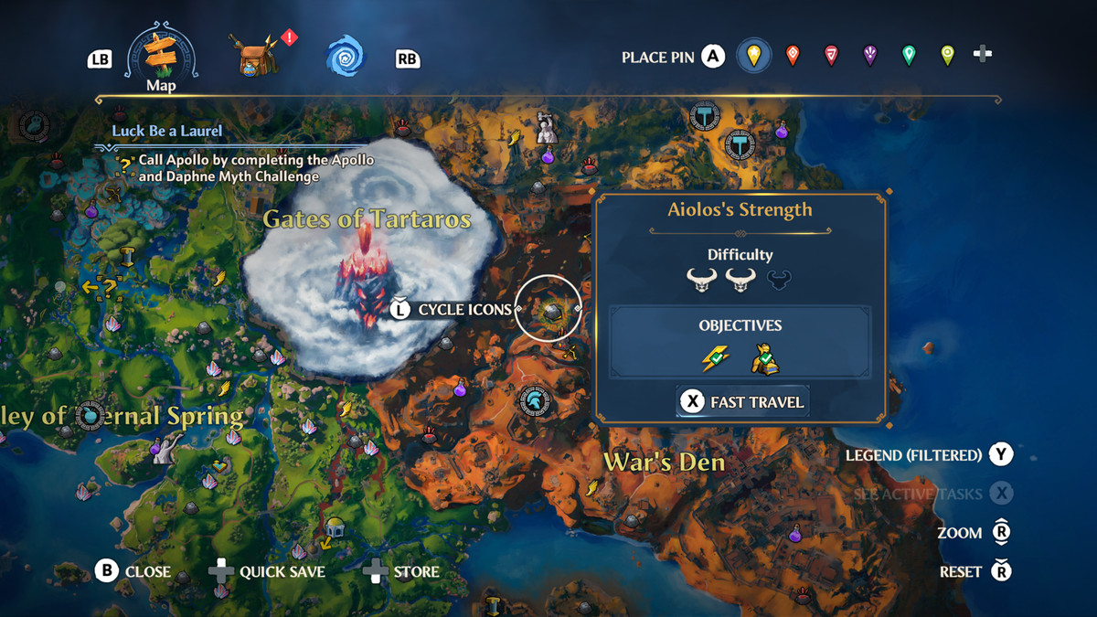 The map location of the Aiolos's Strength Vault of Tartaros