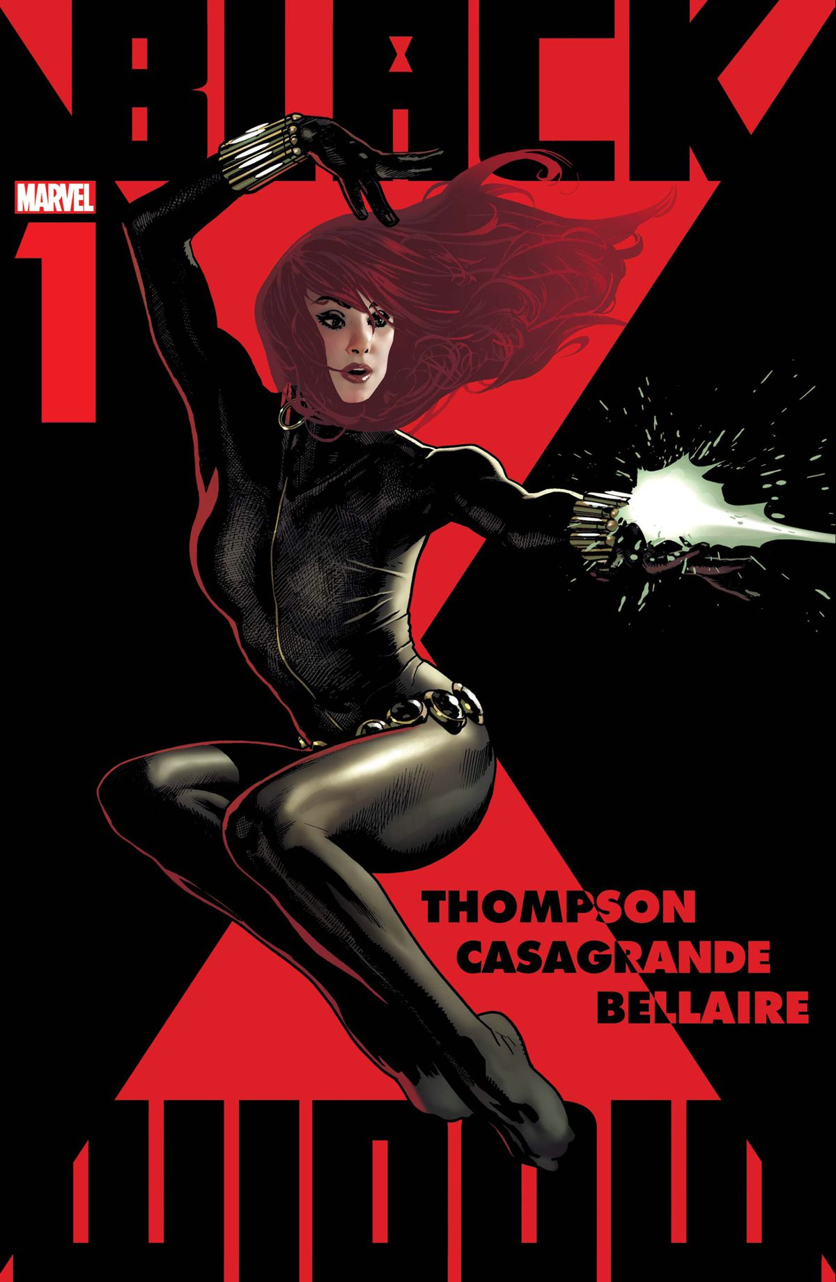 Black Widow leaps through the air firing her wrist blaster on a red hourglass background on the cover of Black Widow #1 (2020).