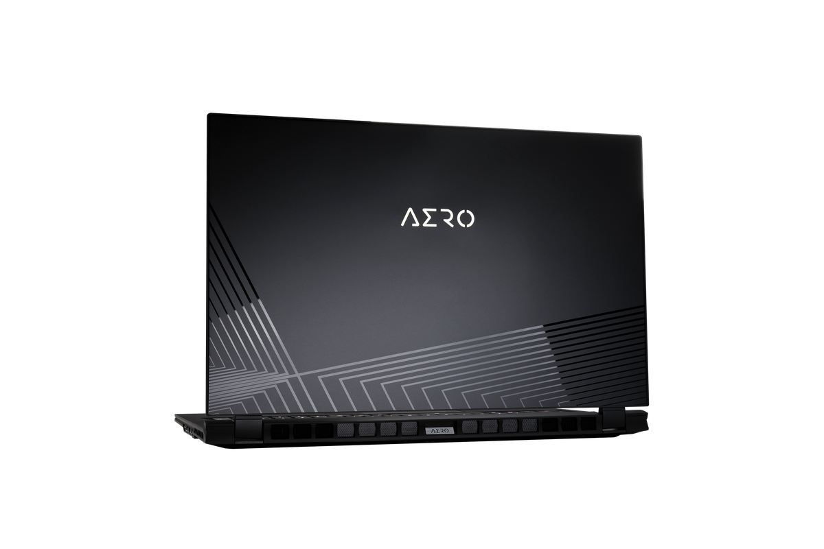 The Gigabyte Aero 17 facing away from the camera, angled slightly to the left.
