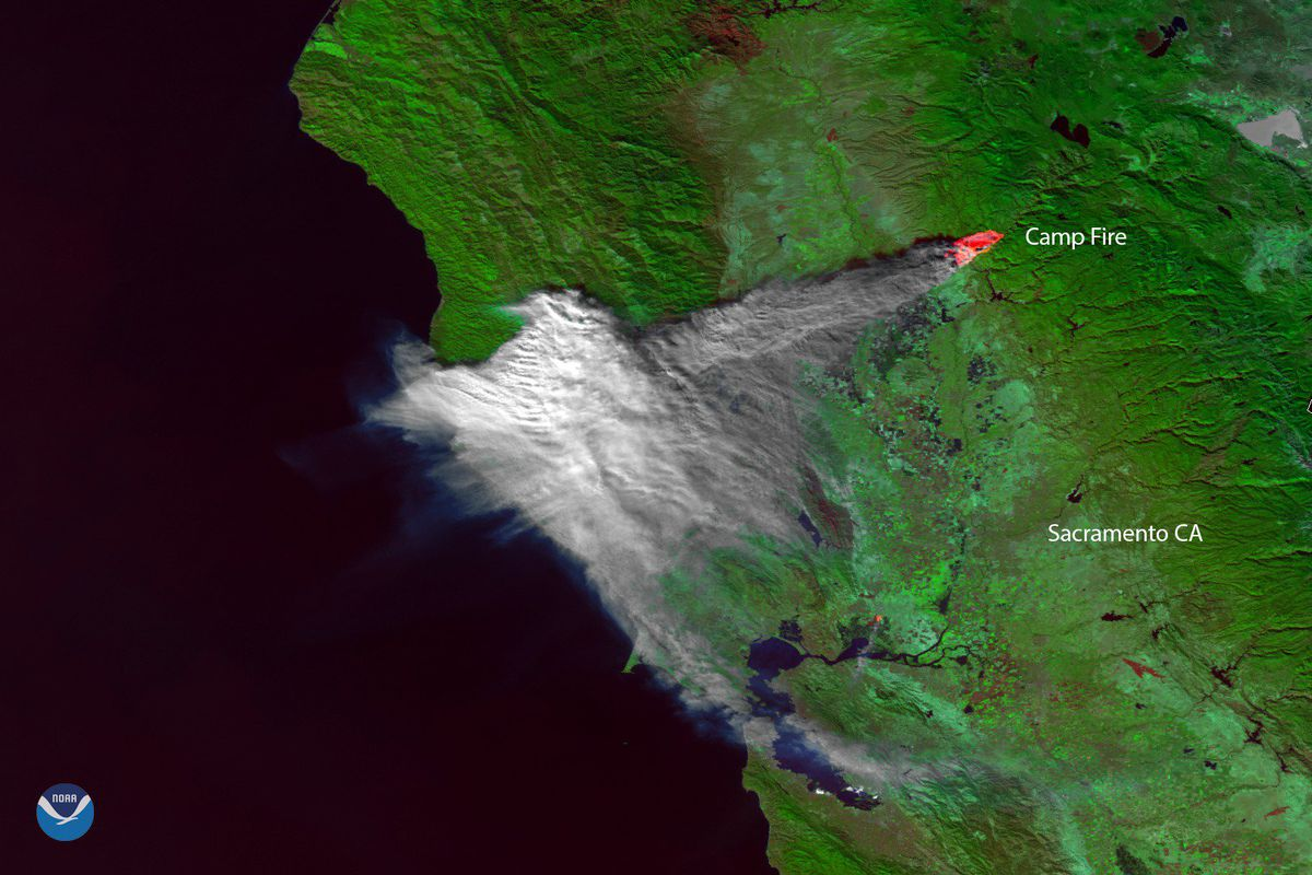 California Fire Satellite Image Shows Camp Fire Smoke Over Bay Area