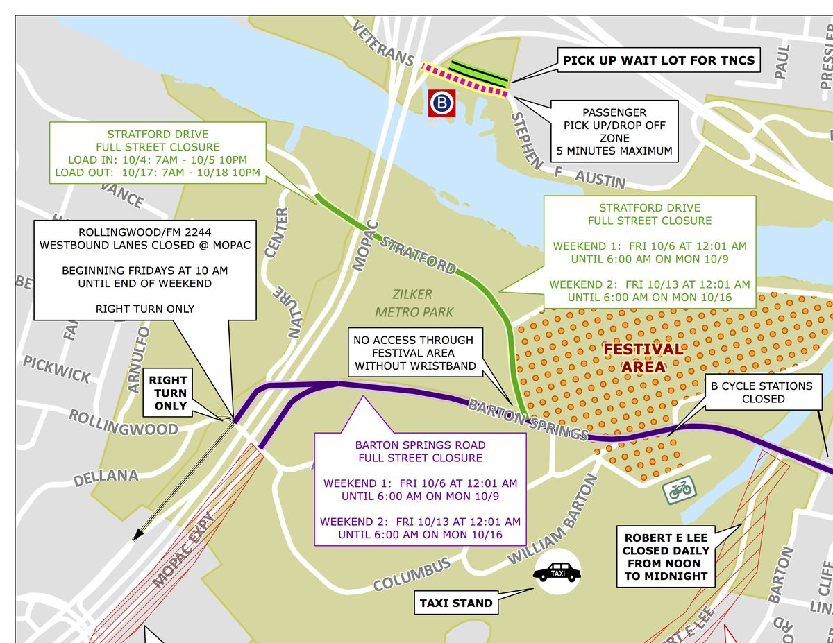 ACL Fest 2017, weekend 2: Street closures, maps, and transportation Zilker Park Austin Texas Map on zilker park austin address, parks in austin tx map, austin city parks map, austin city limits map, texas bluebonnet trail map, barton springs austin map, zilker park trail map, sixth street austin map, pease park austin texas map, zilker park austin picnic area,